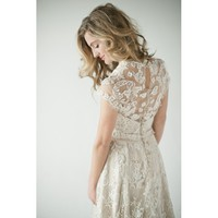 Lace Full Length V Neck Wedding Dress