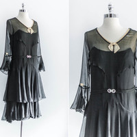 NEW LISTING 1920s Pleated Black Chiffon Flapper Dress