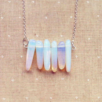 Milky Opal Necklace Delicate Jewelry Minimalist Jewelry Bohemian Necklace Gemstone Necklace Birthstone Necklace Gems