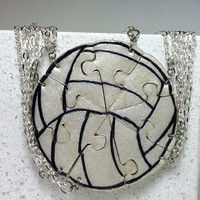 Volley Ball Puzzle Necklace Set of 8 Interlocking Polymer clay necklaces