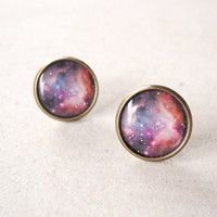 Pink Galaxy Earring Studs - Magenta Plum Purple Space Universe Jewelry (E031)