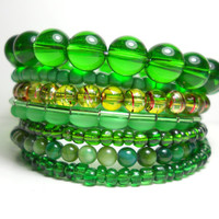 Emerald Green Wire Bracelet Stacked Wrap Bracelet