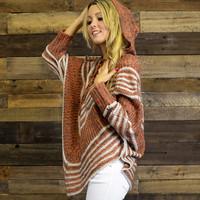 Pumpkin Seed Mocha Hooded Sweater Pancho