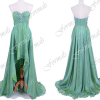 Strapless Front Short Long Back Green Prom Dresses, Green Evening Gown, Wedding party Dresses, High Low Formal Gown