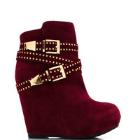 Faux-Suede-Double-Buckle-Booties BLACK TAN WINE - GoJane.com