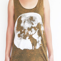 Deer in Full Moon Night Dyed Green Shirt Tank top T-shirt Women singlet unisex Tshirts Size M