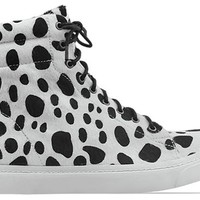 Jeffrey Campbell Flavia Hi Fur in Black Natural Spots at Solestruck.com