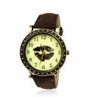 Sexy Lips Print Leather Watch