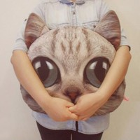 Super Cute Kooky Cat Cushion light gray