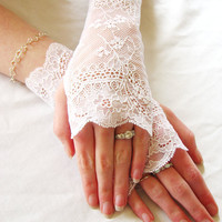 French Lace Fingerless Gloves White Bridal by seamstressbythesea