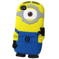 BestPowerOffer 3D Despicable Me 2 Minion Soft Silicone Case Defender Cover for Apple iPhone 4 4G 4S With Retail Packaging (One Eye Minion)