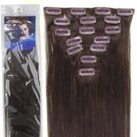 20''7pcs Fashional Clips in Remy Human Hair Extensions 24 Colors for Women Beauty Hot Sale (#02-dark brown):Amazon:Beauty