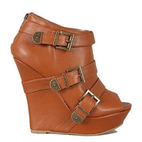 Dreamer Peep Toe Platform Wedges - Chestnut -  $45.00 | Daily Chic Shoes | International Shipping