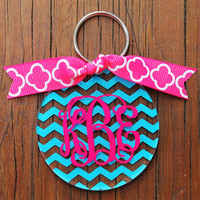 Monogram Key Chain in Chevron Personalized by frecklefoxboutique