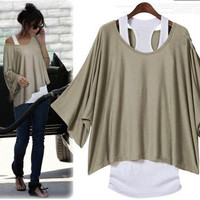 L 071304 y Fashion, bat sleeve, loose big yards T-shirt