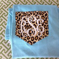 SHORT SLEEVE Monogram Cheetah Print Pocket T-Shirt Womens