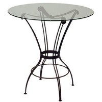 Trica Transit Bar Height Table with Glass Top, 42-1/4 inch H, 36 inch Dia. Glass Top, Chocoalte