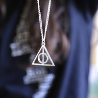 Harry Potter Necklace Deathly Hallows Charm Silver Chain