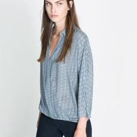 CROSSOVER PRINTED BLOUSE - Shirts - Woman | ZARA United States