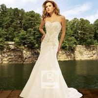 A-Line Sweetheart Embroidery Beading Taffeta Chapel Train Wedding Dress at Dresseshop