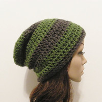 LazyDay Slouch Beanie  Green Gray Stripes