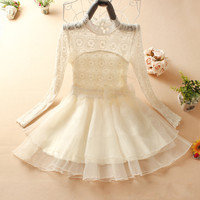 A 083112 Slim lace bow short-sleeved dress upscale