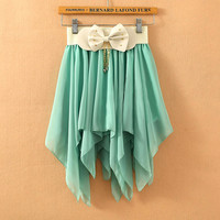 A 072401 Solid color pleated chiffon skirt irregular