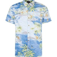 New Look Mobile | Blue Hawaiian Floral Short Sleeve Shirt