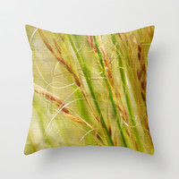 Golden Grasses © Throw Pillow by JUSTART