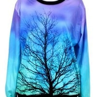 Blue Long Sleeve Moonlight Tree Print Sweatshirt