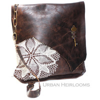 Brown Leather Boho Messenger Bag with Crochet Lace & Antique Key - XL Deluxe MADE to ORDER