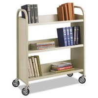 ** Steel Slant Shelf Book Cart, Three Shelves, 36w x 14-1/2d x 43-1/2h, Sand **