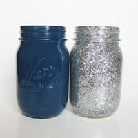 Navy Blue and Silver Glitter Mason Jar Set