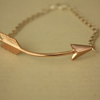 Rose Gold Arrow BRACELET with Sterling Silver Chain by iadornu