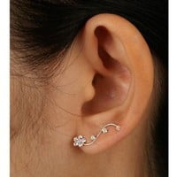 Amazon.com: 925 Sterling Silver Clear Crystal Floral Cuff Earrings Fashion Jewelry for Women, Teens, Girls - Nickel Free: Jewelry
