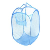 Amico Blue Mesh Design Foldable Storage Pop Up Laundry Hamper Clothes Basket