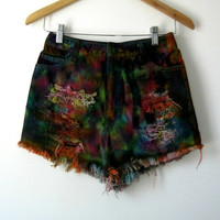High Waist Cut Off Shorts Tie Dyed Vintage by LarkinAndLarkin