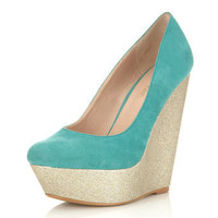 Whoop Mint Green Glitter Wedge - Shoes - Miss Selfridge US