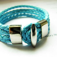 Light Blue Leather Woven Metal Buckle Women Girl by braceletcool