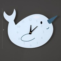 Narwhal Wall Clock, Animal Clock CQ Decor