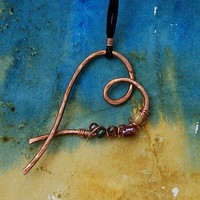 Copper heart necklace with beads by WillowRockDesigns on Etsy