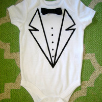 baby boy tuxedo Onesuit bodysuit by graceadkinsdesigns on Etsy