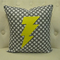 14x14 Yellow Lightning Bolt Grey & White by blackrufflebrigade