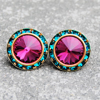 Fuchsia Teal Rhinestone Stud Earrings Swarovski Crystal Hot Pink Rhinestone Post Earrings Preppy Earrings Sugar Sparklers Mashugana