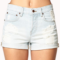 Vintage-Inspired Distressed Denim Shorts | FOREVER 21 - 2015035822