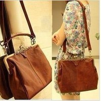 Shopinthebox Retro Vintage Lady Woman PU leather Shoulder Purse Handbag Totes Bag Satchel