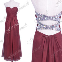 Strapless Sweetheart Long Chiffon Wine Red Prom Dresses, Wine Red Homecoming Dresses, Wedding Party Dresses, Formal Gown