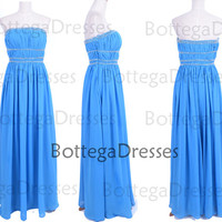 Strapless with Beaded Chiffon Blue Prom Dresses, Wedding Party Dresses, Blue Bridesmaid Dresses
