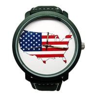 America Watch, Men's PU Leather USA Watch, Custom Watch