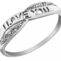 I Love You Diamond Promise Ring in 10K Gold:Amazon:Jewelry